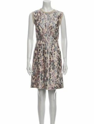 Marc Jacobs Floral Print Knee-Length Dress Metallic