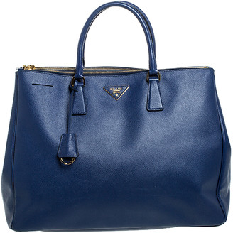 Prada Blue Saffiano Lux Leather Executive Double Zip Tote
