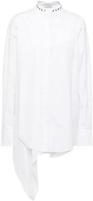 Alexander McQueen Draped Studded Cotton-poplin And Pique Shirt