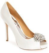 Badgley Mischka Women's 'Jeannie' Crystal Trim Open Toe Pump