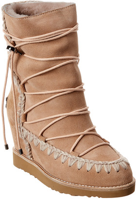 Mou French Toe Short Lace-Up Suede Wedge Bootie