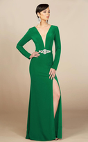 MNM Couture - M0006 Long Sleeve Plunging Column Slit Dress
