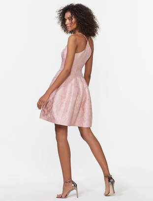 Halston Sleeveless Jacquard Fit & Flare Dress
