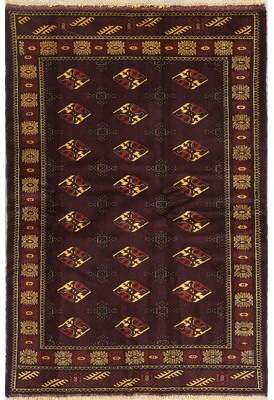 "World Menagerie Putnam Geometric Maroon Persian Oriental Hand-Knotted Wool Area Rug 6'3""X4'3"" World Menagerie"
