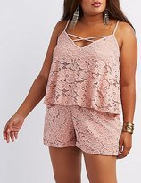 Charlotte Russe Plus Size Lace Tiered Romper