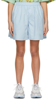 we11done Blue Logo Patch Shorts