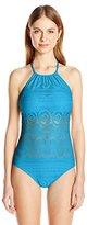 Kenneth Cole Reaction Women's Crochet Buns Out Hi Neck Mio Swimsuit