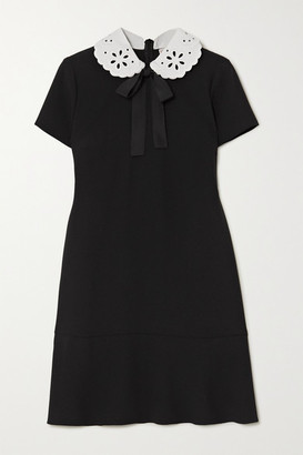 RED Valentino Broderie Anglaise-trimmed Crepe Mini Dress - Black