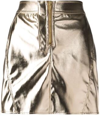 Fiorucci metallic zip front mini skirt