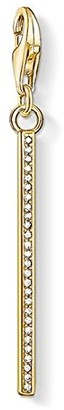 Thomas Sabo Women's 925 Sterling Silver Charm Vertical Bar Gold Club Yellow Gold Plating Pendant 1577-414-14