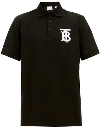 Burberry Logo-print Cotton-pique Polo Shirt - Black
