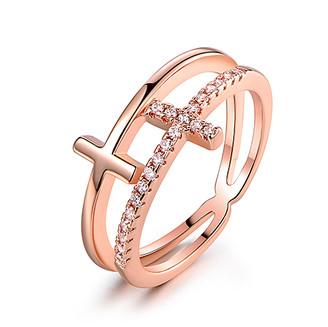 Barzel Women's Rings Rose - Cubic Zirconia & 18k Rose Gold-Plated Double-Cross Ring