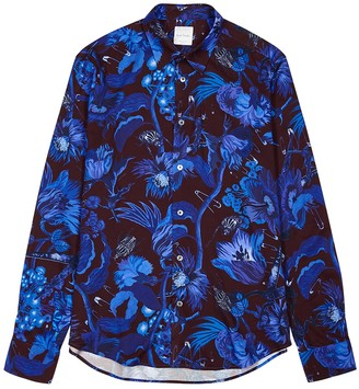 Paul Smith Blue printed brushed-twill shirt