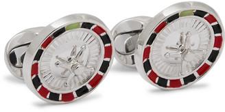 Deakin & Francis Roulette Wheel Sterling Silver And Enamel Cufflinks