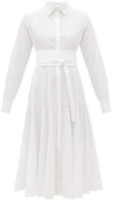 Another Tomorrow - Belted Godet-panelled Organic-cotton Shirt Dress - Womens - White