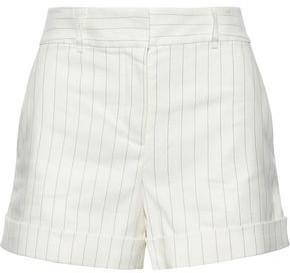 Veronica Beard Carito Striped Linen-blend Twill Shorts