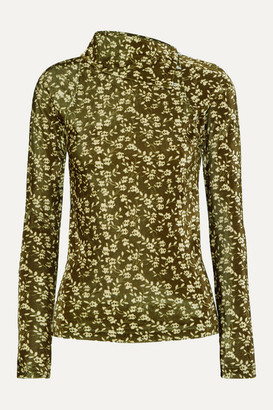 Dodo Bar Or Brenda Floral-print Stretch-velvet Turtleneck Top - Green