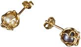 Bijules Locket Akoya Cultured Pearl Stud Earrings