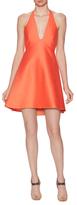 Halston Cotton Structured Halter Neck A-Line Dress