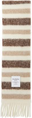 Acne Studios White and Beige Alpaca Striped Scarf