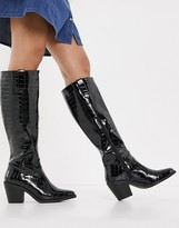 Thumbnail for your product : Glamorous knee-high western boots in black