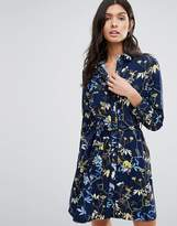 Liquorish Floral Print Long Sleeve Shirt Dress