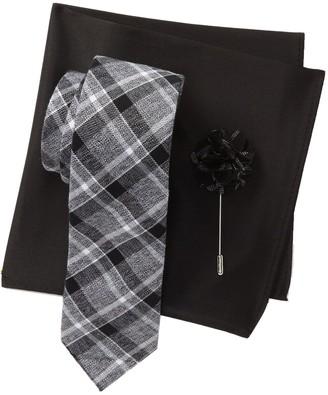 Original Penguin Hoopes Plaid Tie, Pocket Square, & Lapel Pin Set