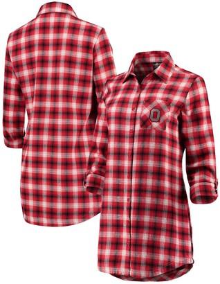 Women's Scarlet/White Ohio State Buckeyes Fireside II Button-Up Flannel Shirt