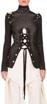 Proenza Schouler Lace-Up Turtleneck Sweater, Black/Ecru