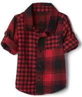 Gap Mix-plaid flannel convertible shirt