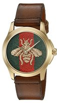 Gucci YA126451 G-Timelss Analog ETA Quartz Brown Leather Watch
