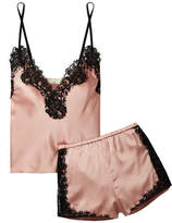 Fleur Du Mal Kilian Lace-trimmed Stretch Silk-satin Pajama Set - Blush