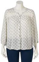Mudd Juniors' Plus Size Button Front Crochet Peasant Top