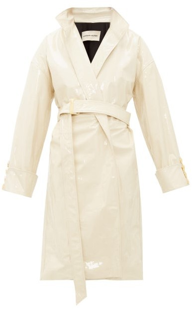 Alexandre Vauthier Oversized Double-breasted Patent-leather Coat - Ivory