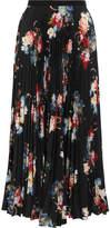 Erdem Nesrine Pleated Floral-print Chiffon Midi Skirt - Black