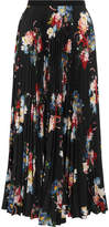 Erdem Nesrine Pleated Floral-print Crepe De Chine Midi Skirt - Black