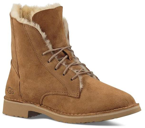d06c66deb54 Quincy Leather and Sheepskin Lace Up Booties