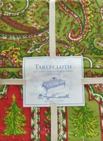 "April Cornell Christmas Tree Red & Green Paisley Tablecloth 60"" by 104"""