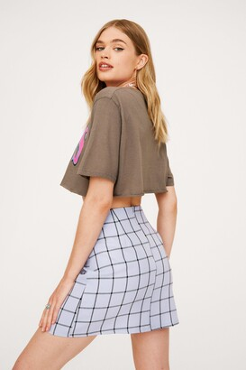 Nasty Gal Womens Check Print Split Hem Mini Skirt - Blue - 4