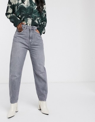 Weekday Meg organic cotton tapered leg jeans with twisted seam in grey