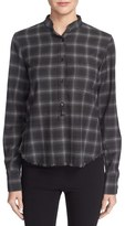 Helmut Lang Fitted Plaid Button Front Shirt
