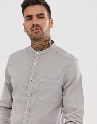 Asos DESIGN stretch slim denim shirt in gray with grandad collar