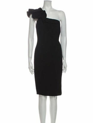 Carmen Marc Valvo One-Shoulder Mini Dress Black