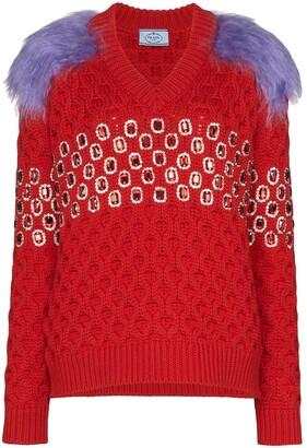 Prada crystal embellished jumper