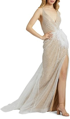 Mac Duggal Sequin Wrap Gown