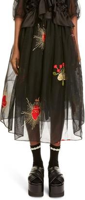 Simone Rocha Embroidered Tutu Midi Skirt