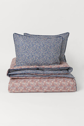 H&M Printed Cotton Duvet Cover Set - Blue
