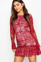 boohoo Corded Lace Frill Hem Mini Dress