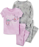 Carter's 4-Pc. Party Owl Day Cotton Pajama Set, Baby Girls (0-24 months)