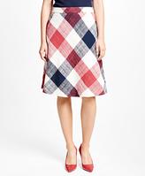 Brooks Brothers Cotton Blend Gingham Skirt